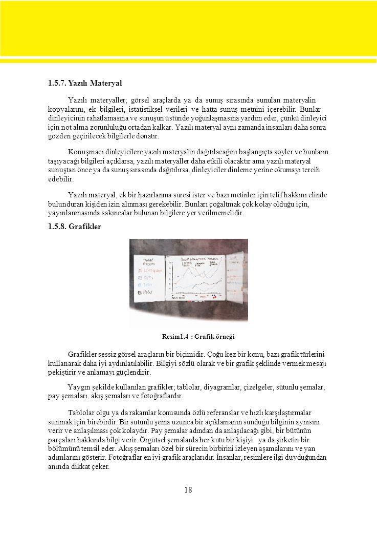 1.5.7. Yazılı Materyal Yazılı materyaller; görsel araçlarda ya da sunuş sırasında sunulan materyalin.