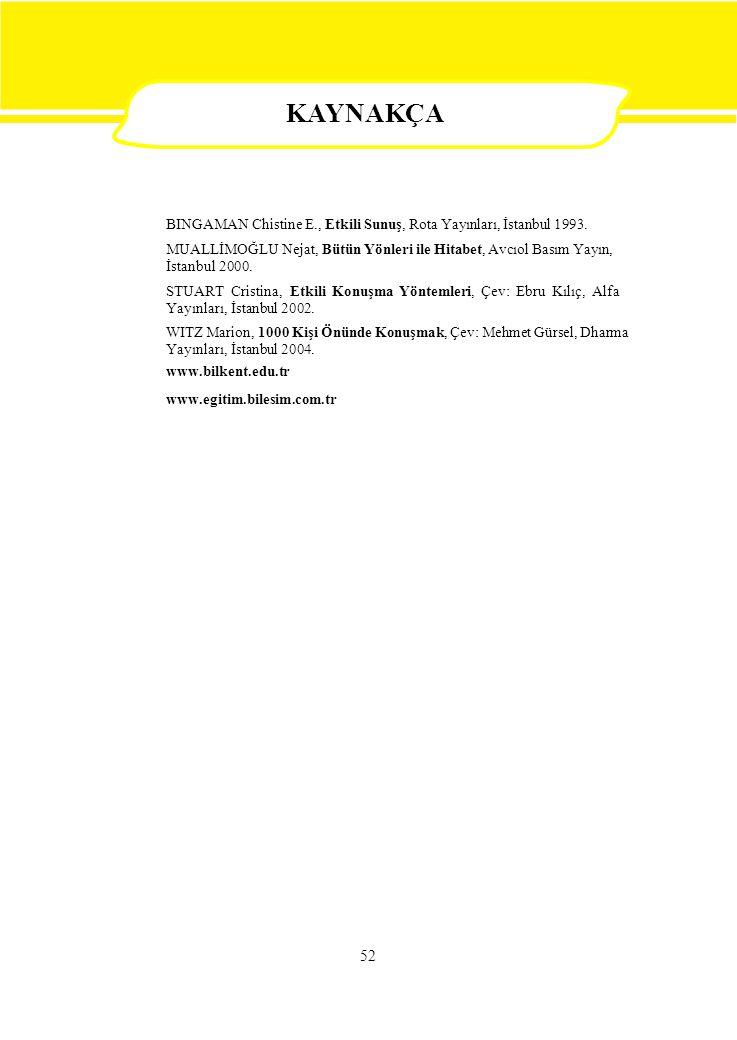 KAYNAKÇA BINGAMAN Chistine E., Etkili Sunuş, Rota Yayınları, İstanbul 1993. MUALLİMOĞLU Nejat, Bütün Yönleri ile Hitabet, Avcıol Basım Yayın,
