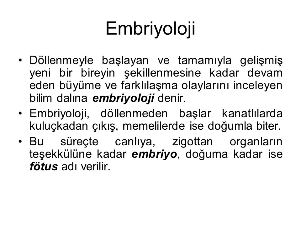 Embriyoloji