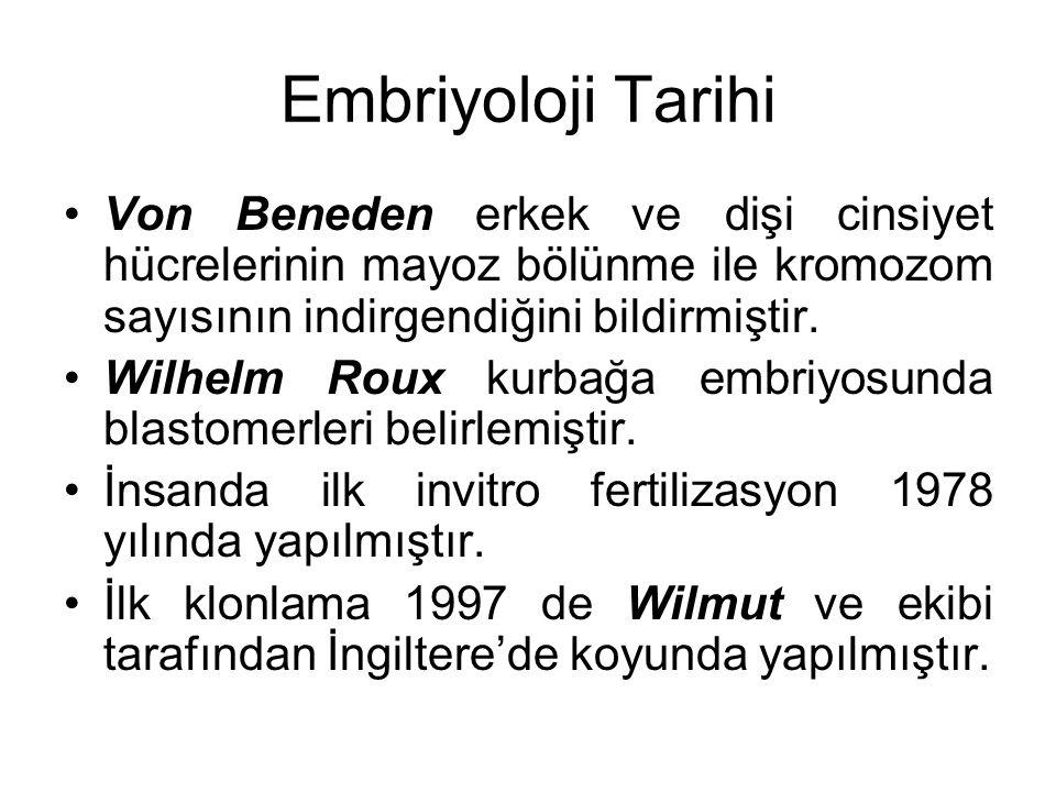 Embriyoloji Tarihi Von Beneden erkek ve dişi cinsiyet hücrelerinin mayoz bölünme ile kromozom sayısının indirgendiğini bildirmiştir.