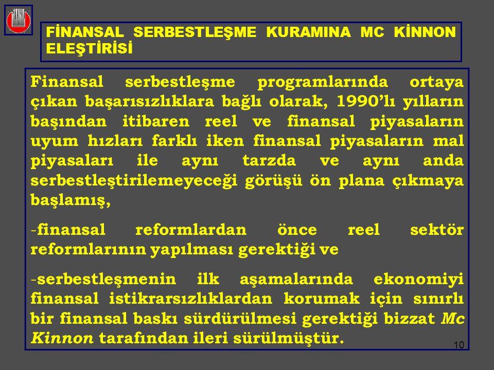 FİNANSAL SERBESTLEŞME KURAMINA MC KİNNON ELEŞTİRİSİ