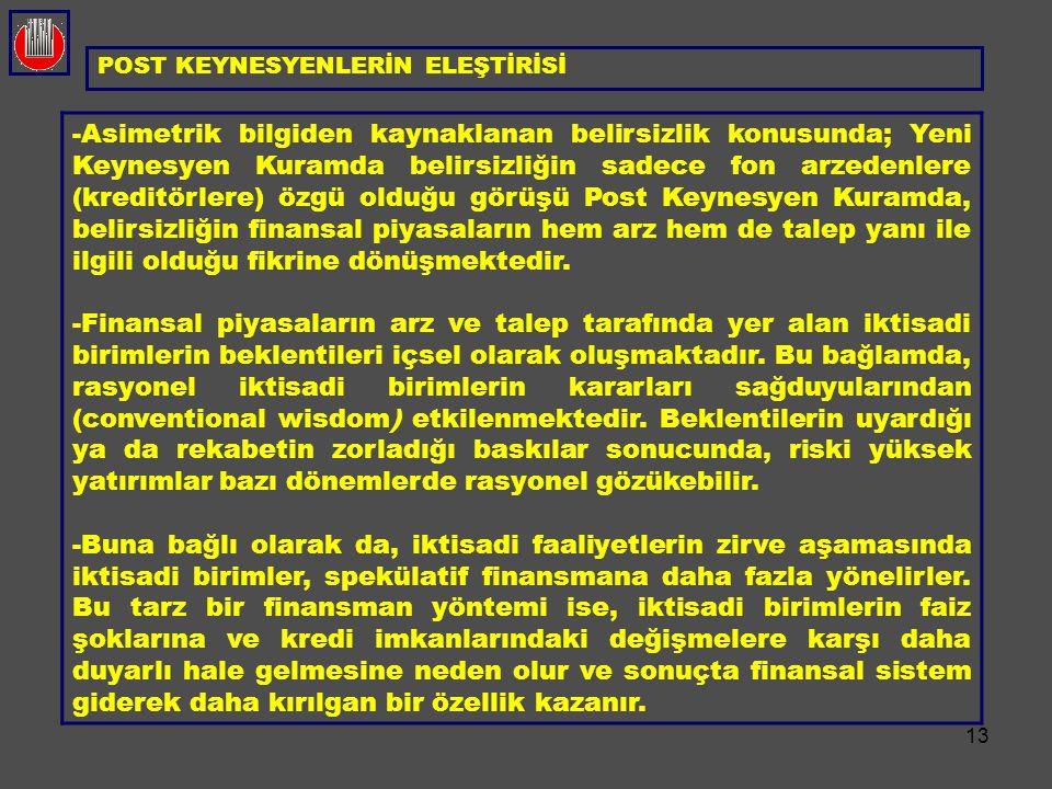 POST KEYNESYENLERİN ELEŞTİRİSİ