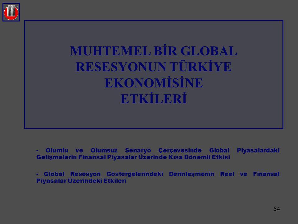 MUHTEMEL BİR GLOBAL RESESYONUN TÜRKİYE EKONOMİSİNE ETKİLERİ