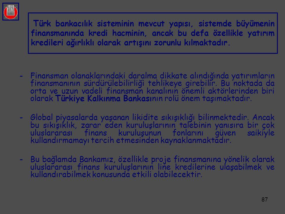 Türk bankacılık sisteminin mevcut yapısı, sistemde büyümenin finansmanında kredi hacminin, ancak bu defa özellikle yatırım kredileri ağırlıklı olarak artışını zorunlu kılmaktadır.