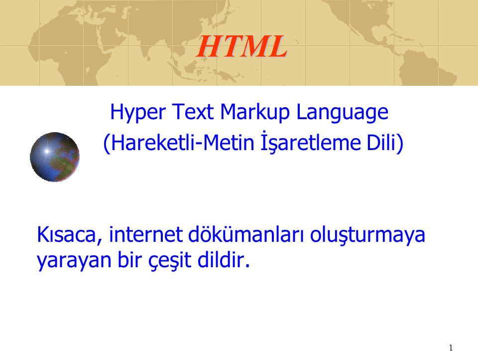 HTML Hyper Text Markup Language (Hareketli-Metin İşaretleme Dili)