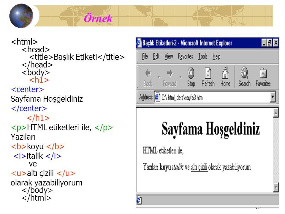 Örnek <html> <head> <title>Başlık Etiketi</title> </head> <body> <h1> <center> Sayfama Hoşgeldiniz.