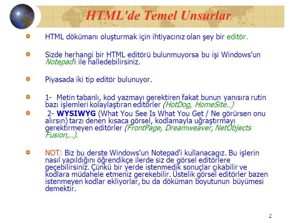 HTML de Temel Unsurlar HTML dökümanı oluşturmak için ihtiyacınız olan şey bir editör.