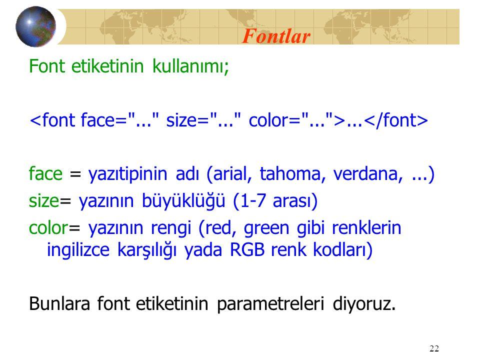 Fontlar Font etiketinin kullanımı;