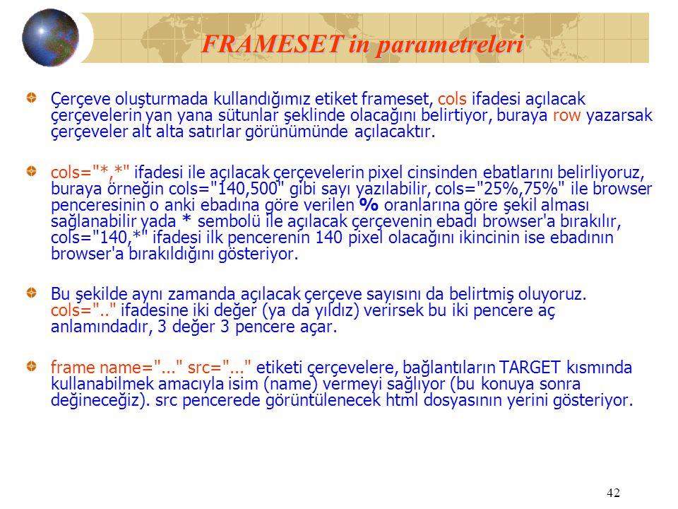 FRAMESET in parametreleri