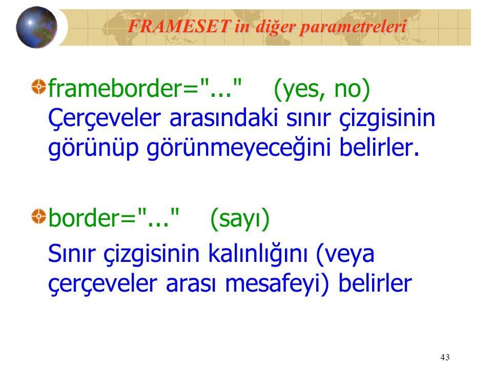 FRAMESET in diğer parametreleri