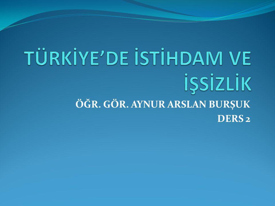 TÜRKİYE'DE İSTİHDAM VE İŞSİZLİK
