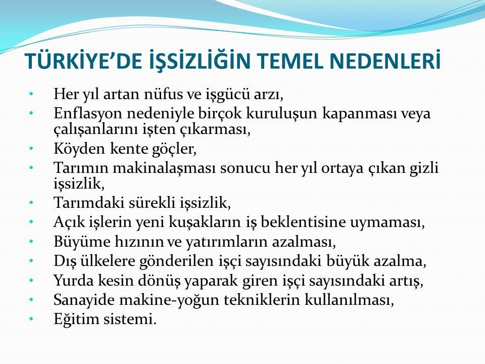 TÜRKİYE'DE İŞSİZLİĞİN TEMEL NEDENLERİ