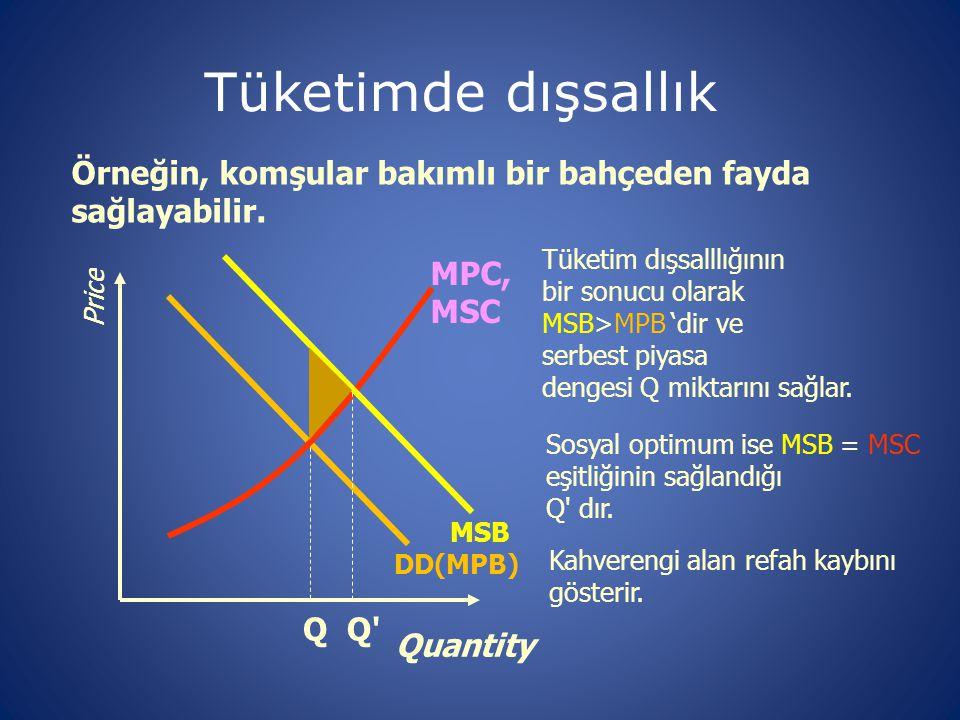 Tüketimde dışsallık Örneğin, komşular bakımlı bir bahçeden fayda sağlayabilir. Q. MPC, MSC. Tüketim dışsalllığının.