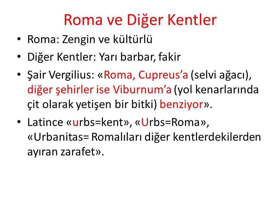 Roma ve Diğer Kentler Roma: Zengin ve kültürlü