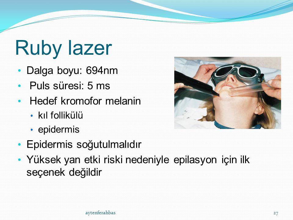 Ruby lazer Dalga boyu: 694nm Puls süresi: 5 ms Hedef kromofor melanin