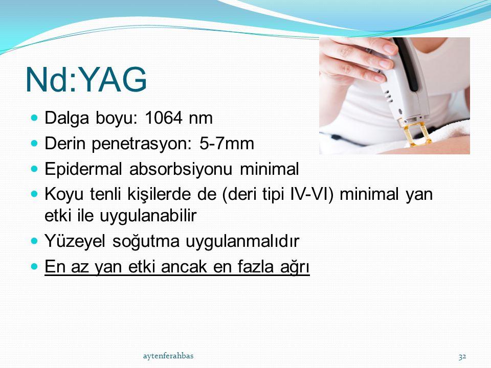 Nd:YAG Dalga boyu: 1064 nm Derin penetrasyon: 5-7mm