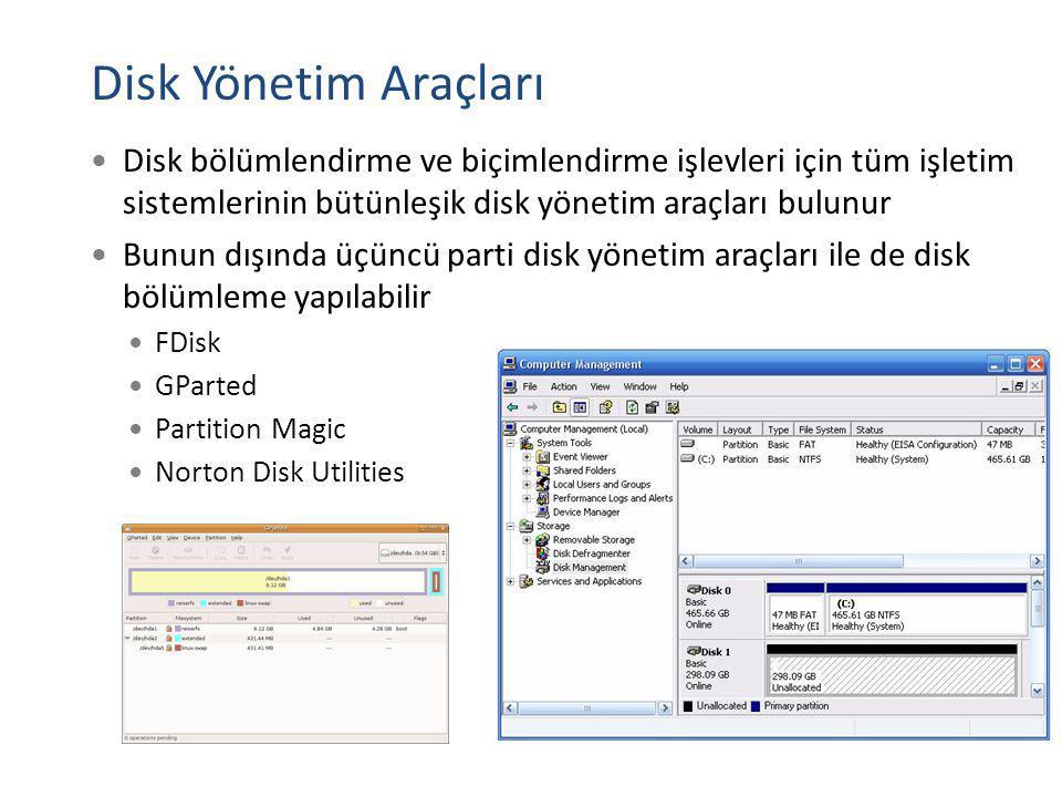 Disk Yönetim Araçları Disk bölümlendirme ve biçimlendirme işlevleri için tüm işletim sistemlerinin bütünleşik disk yönetim araçları bulunur.