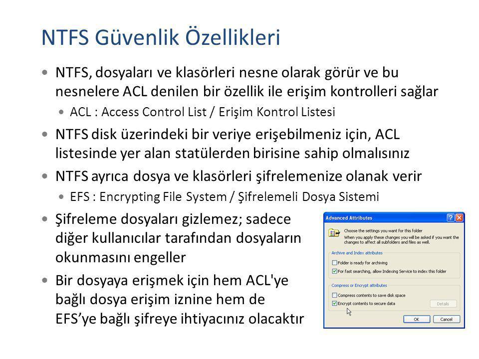 NTFS Güvenlik Özellikleri