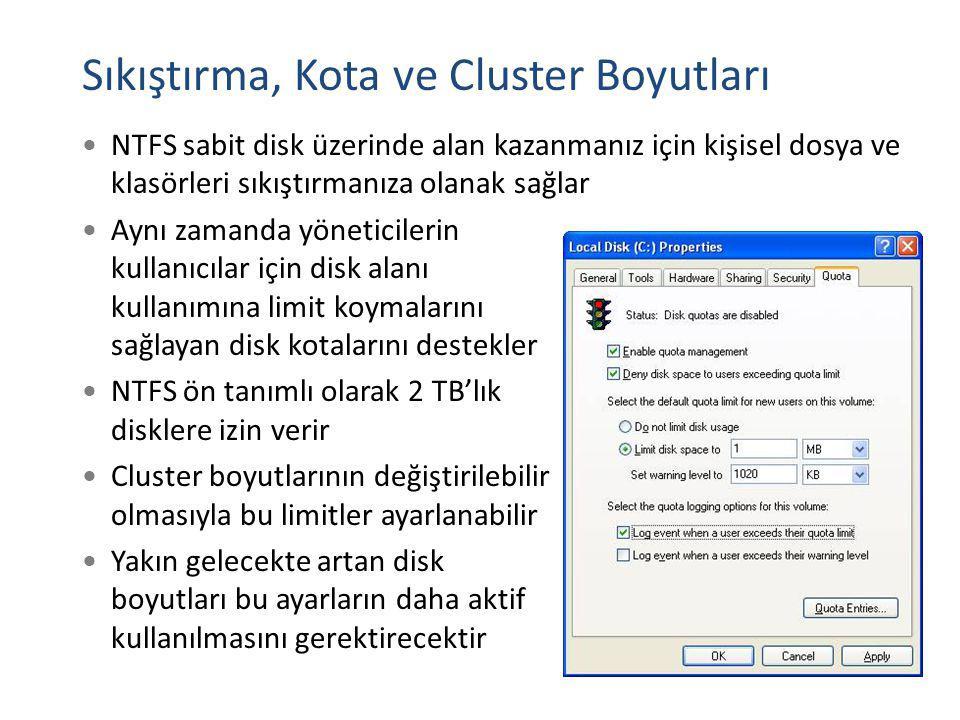 Sıkıştırma, Kota ve Cluster Boyutları