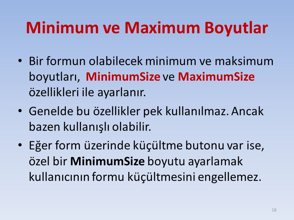 Minimum ve Maximum Boyutlar
