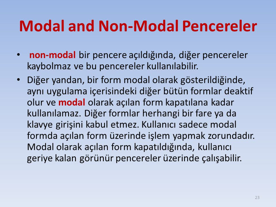 Modal and Non-Modal Pencereler