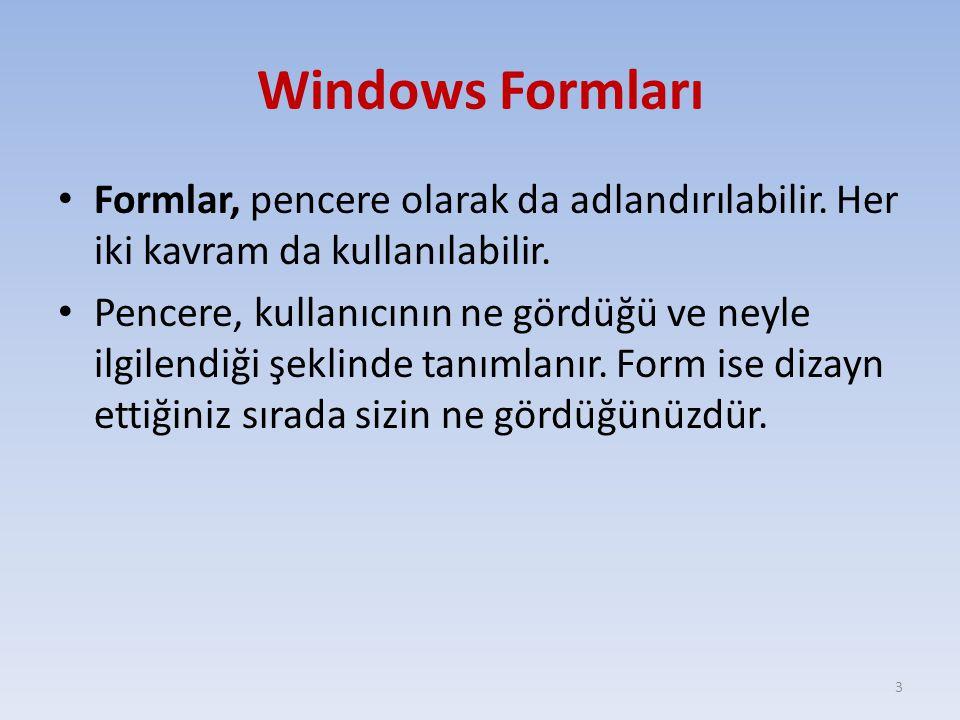 Windows Formları Formlar, pencere olarak da adlandırılabilir. Her iki kavram da kullanılabilir.
