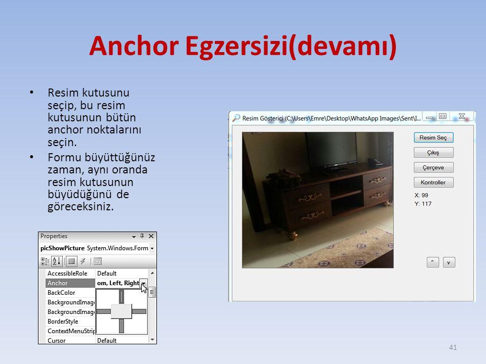 Anchor Egzersizi(devamı)