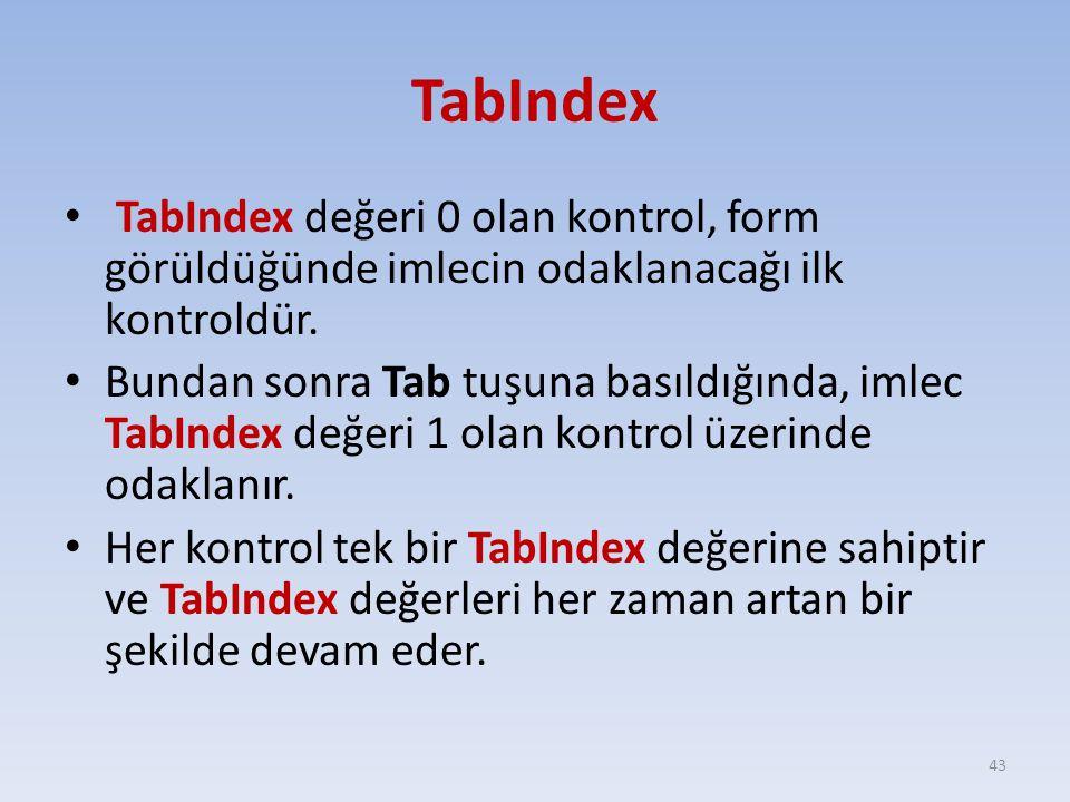 TabIndex TabIndex değeri 0 olan kontrol, form görüldüğünde imlecin odaklanacağı ilk kontroldür.