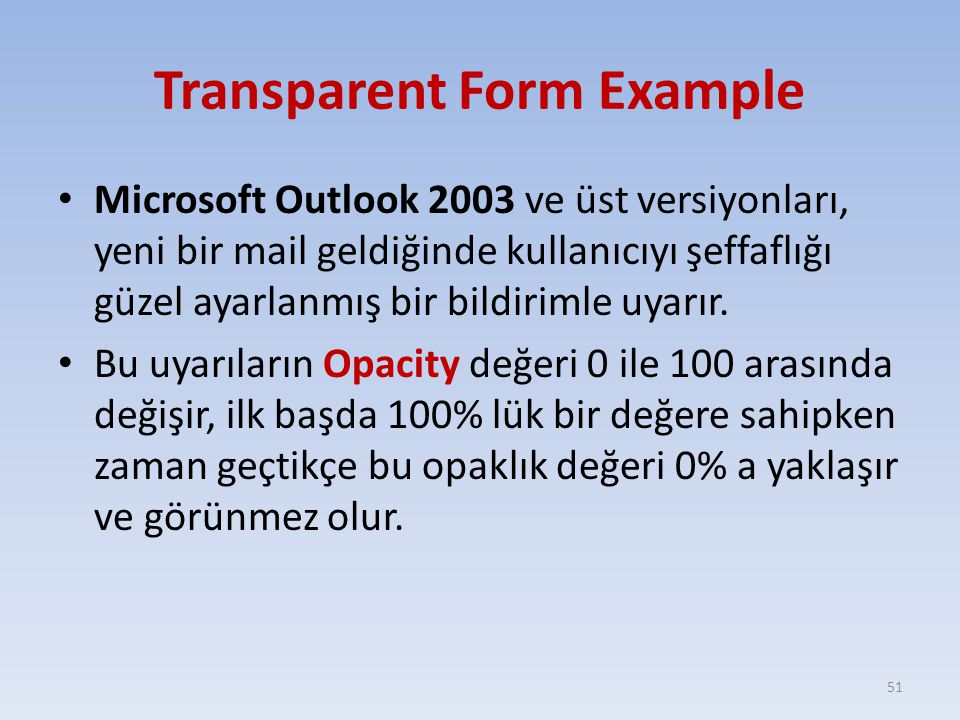 Transparent Form Example