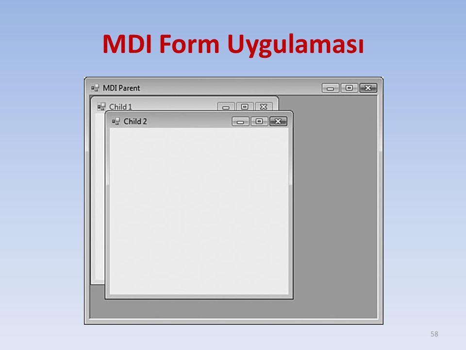 MDI Form Uygulaması