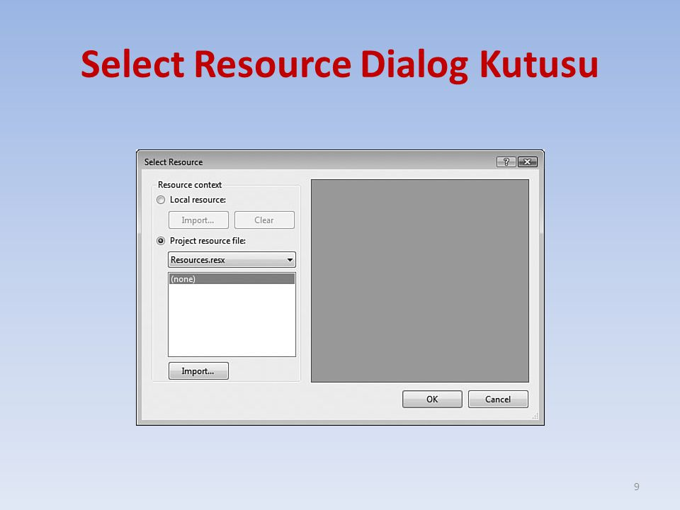 Select Resource Dialog Kutusu