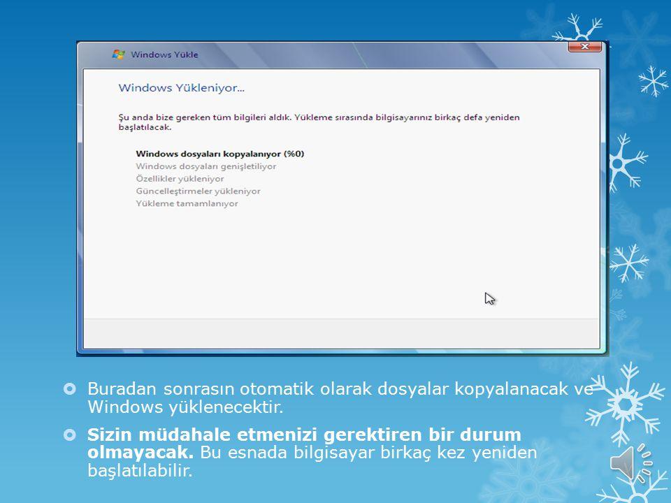 Buradan sonrasın otomatik olarak dosyalar kopyalanacak ve Windows yüklenecektir.