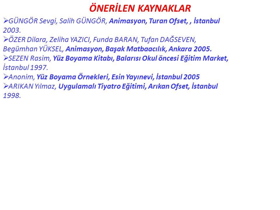 ÖNERİLEN KAYNAKLAR GÜNGÖR Sevgi, Salih GÜNGÖR, Animasyon, Turan Ofset, , İstanbul. 2003. ÖZER Dilara, Zeliha YAZICI, Funda BARAN, Tufan DAĞSEVEN,