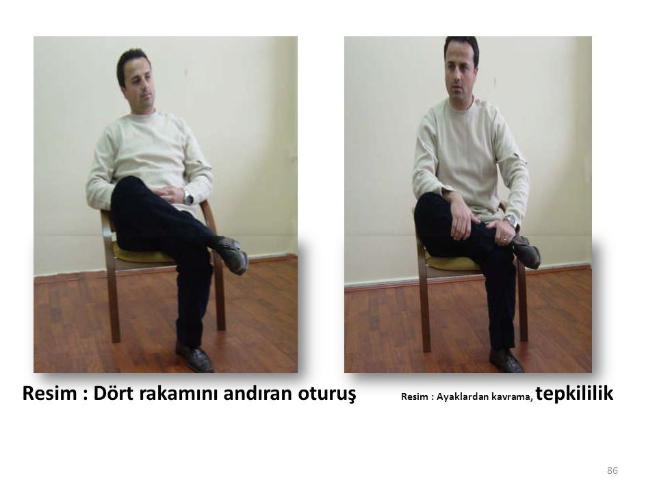 Resim : Dört rakamını andıran oturuş Resim : Ayaklardan kavrama, tepkililik