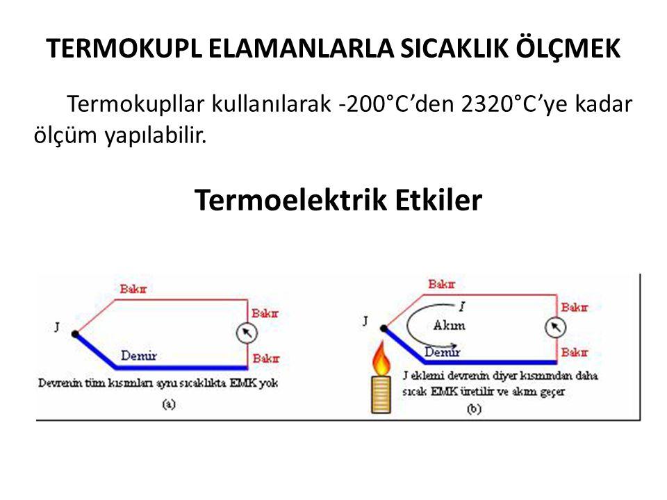 TERMOKUPL ELAMANLARLA SICAKLIK ÖLÇMEK Termoelektrik Etkiler