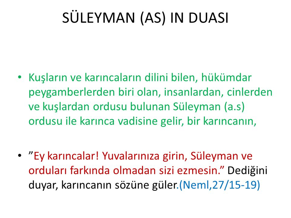 SÜLEYMAN (AS) IN DUASI