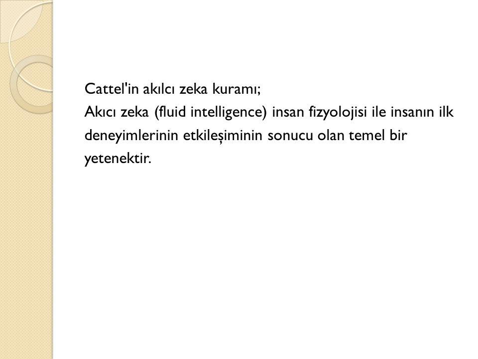 Cattel in akılcı zeka kuramı; Akıcı zeka (fluid intelligence) insan fizyolojisi ile insanın ilk deneyimlerinin etkileşiminin sonucu olan temel bir yetenektir.
