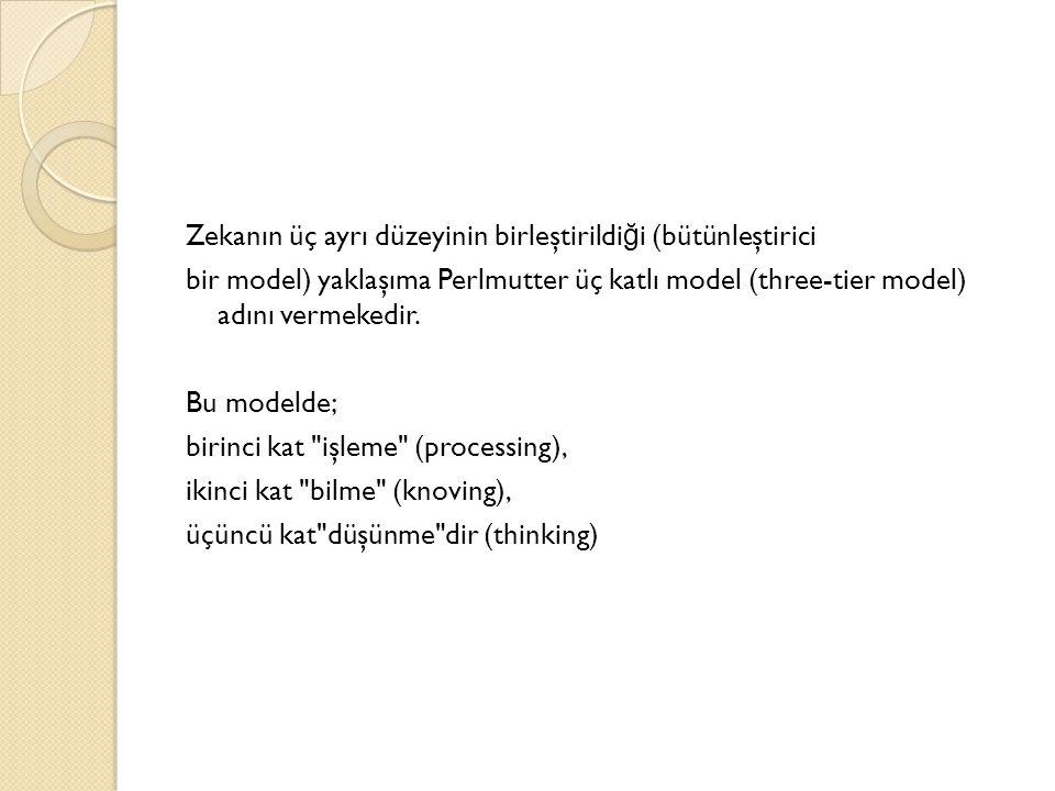 Zekanın üç ayrı düzeyinin birleştirildiği (bütünleştirici bir model) yaklaşıma Perlmutter üç katlı model (three-tier model) adını vermekedir.