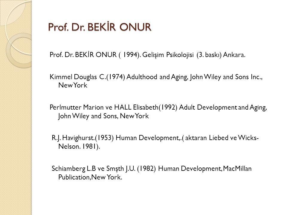 Prof. Dr. BEKİR ONUR