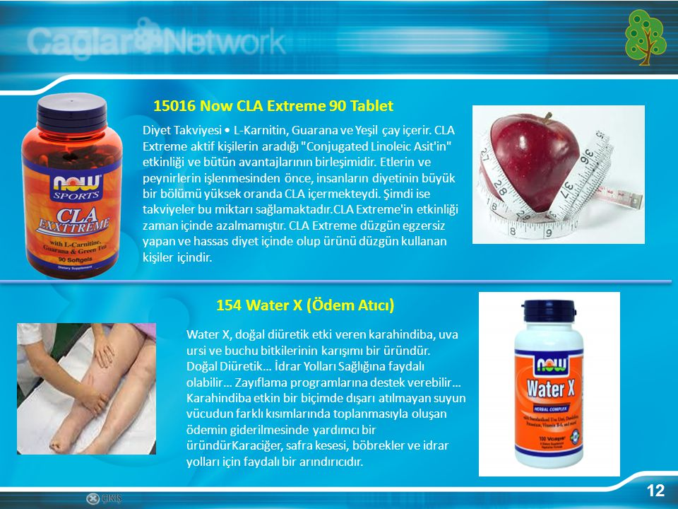15016 Now CLA Extreme 90 Tablet 154 Water X (Ödem Atıcı) 12