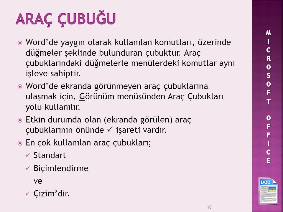 ARAÇ ÇUBUĞU MICROSOFT OFFICE.