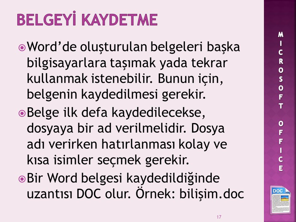 BELGEYİ KAYDETME MICROSOFT OFFICE.