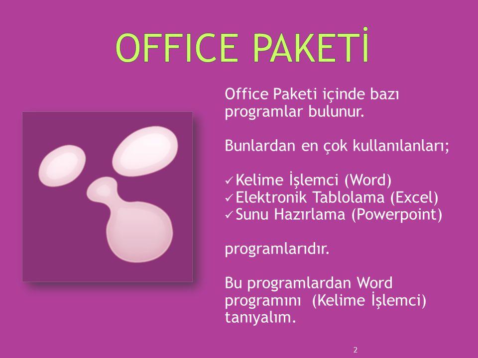 OFFICE PAKETİ Office Paketi içinde bazı programlar bulunur.