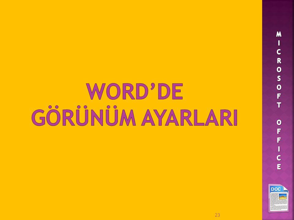 WORD'DE GÖRÜNÜM AYARLARI