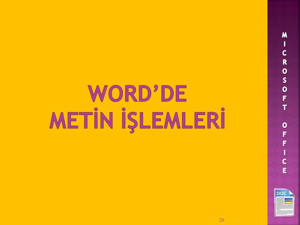 WORD'DE METİN İŞLEMLERİ