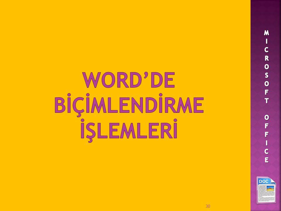 WORD'DE BİÇİMLENDİRME İŞLEMLERİ