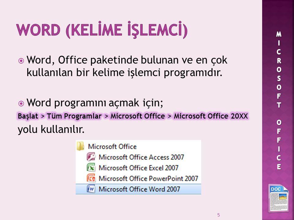 Word (kelİme İşlemcİ) MICROSOFT OFFICE. Word, Office paketinde bulunan ve en çok kullanılan bir kelime işlemci programıdır.