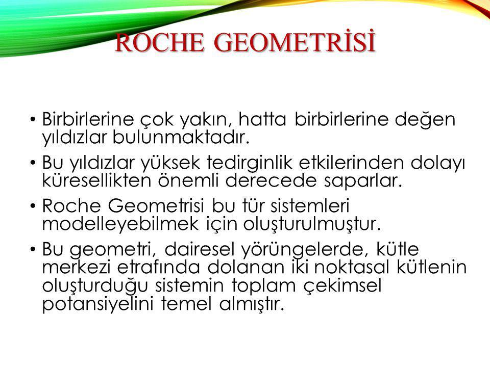 Roche geometrİsİ Birbirlerine çok yakın, hatta birbirlerine değen yıldızlar bulunmaktadır.