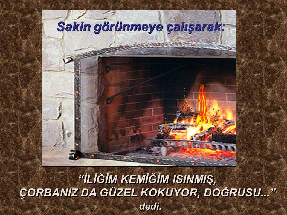 İLİĞİM KEMİĞİM ISINMIŞ, ÇORBANIZ DA GÜZEL KOKUYOR, DOĞRUSU...
