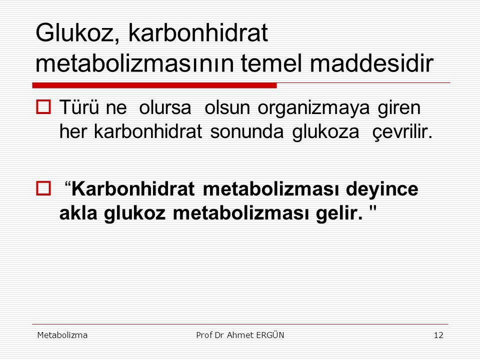 Glukoz, karbonhidrat metabolizmasının temel maddesidir